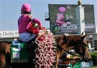 30 April 2010: Rafael Bejarano celebrates after winning the G1 Kentucky Oaks on Blind Luck.