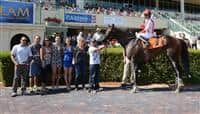 Derivativecontract in the Winners Circle after a Maiden Special Weight race at Gulfstream Park.