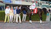 Escapist in the Winners Circle after a Maiden Special Weight race at Gulfstream Park.