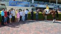 Global Strike in the Winners Circle after a Maiden Special Weight race at Gulfstream Park.