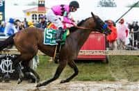 BALTIMORE, MD - MAY 21: American Freedom #5, ridden by Florent Geroux, wins the LARC Sir Barton Stakes at Pimlico Race Course on May 21, 2016 in Baltimore, Maryland. (Photo by Sue Kawczynski/Eclipse Sportswire/Getty Images)