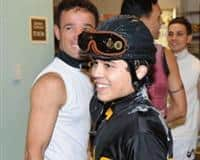 Jockey Brian Pedroza at Gulfstream Park after his first career win