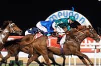 Decorated Knight Claims Group 1 Jebel Hatta under Andrea Atzeni. Credit: Dubai Racing Club//Andrew Watkins
