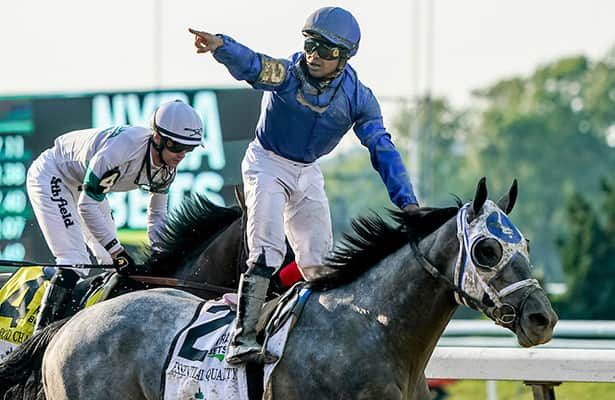 Essential Quality prevails in stretch duel to win the Belmont