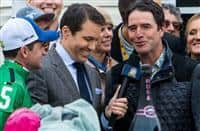 BALTIMORE, MD - MAY 21: Exaggerator trainer Keith Desormeaux (R) and his brother and jockey Kent J. Desormeaux (L) are interviewed in the winner's circle after winning the the 141st running of the Preakness Stakes at Pimlico Race Course on May 21, 2016 in Baltimore, Maryland. (Photo by Sue Kawczynski/Eclipse Sportswire/Getty Images)