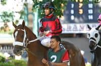 July 5, 2014: Delaware Oaks contender Lady Paradime, Victor Carrasco up, owned by Three Crowns Farm and trained by Kelly Breen, walks in the paddock before the race. Fortune Pearl, trained by Graham Motion and ridden by Trevor McCarthy, wins the Grade II Delaware Oalks at Delaware Park in Stanton Delaware. She is owned by Lawrence Stable Inc. Joan Fairman Kanes/ESW/CSM