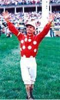 Jockey Pat Day after winning the 1992 Kentucky Derby aboard Lil E. Tee