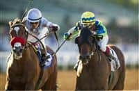 Rich Tapestry, right, edges Goldencents in the Santa Anita Sprint