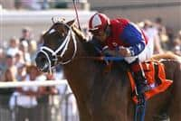 August 1st 2010: Smiling Tiger and Victor Espinoza win the Bing Crosby Handicap(GI) at Del Mar Race Track in Del Mar CA.