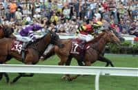 Strathmore (No. 13) finishes third behind Chautauqua and Lucky Bubbles (No. 7) in the G1 Chairman's Sprint Prize last May.