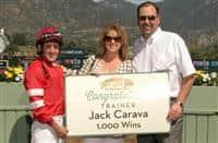 Trainer Jack Carava celebrates 1,000th win (3-14-15).