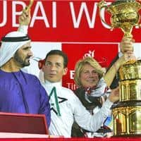 Aaron Gryder after winning the Dubai World Cup aboard Well Armed