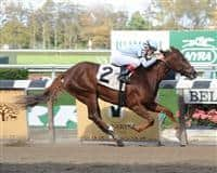 Agave Kiss breaks maiden at Belmont Park. NYRA, Adam Coglianese