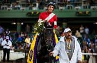 Fort Larned, with Brian Hernandez, following his 2012 Breeders' Cup Classic win