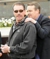 Jeff Mullins gets a hug after I Want Revenge takes the Gotham.