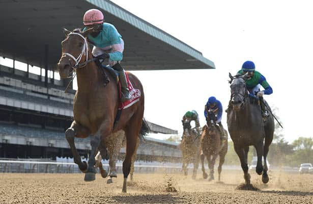 Vault goes last-to-first to win Belmont G2 Ruffian for Cox